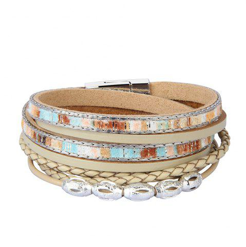 Trendy Fashion Accessories Multi - Layer Leather Transfer Beads Bracelet