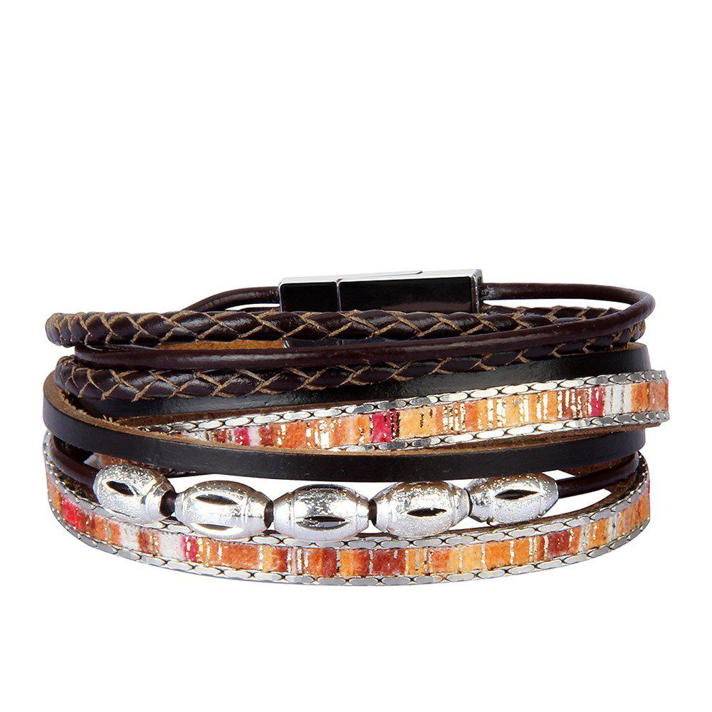 Affordable Fashion Accessories Multi - Layer Leather Transfer Beads Bracelet