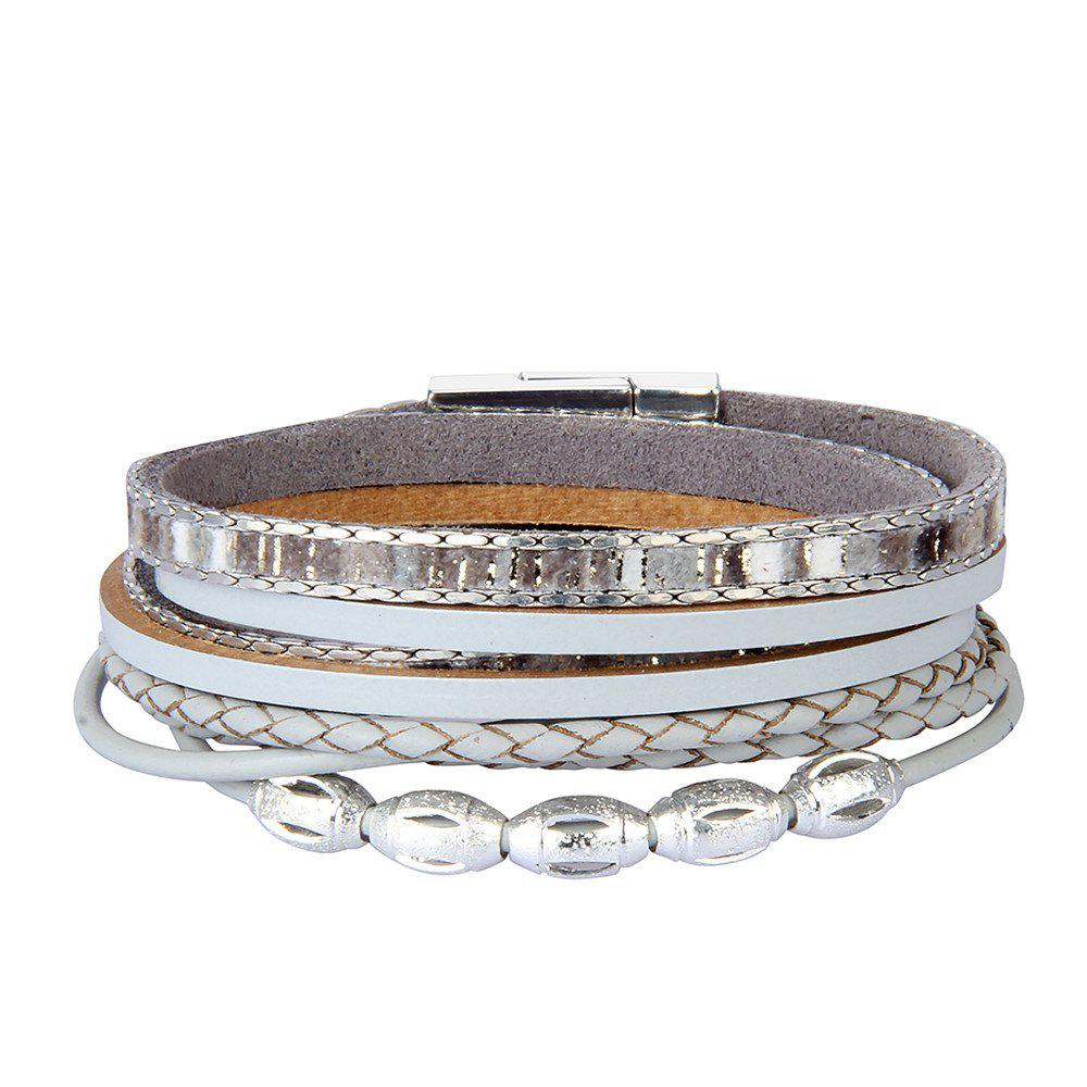 Fancy Fashion Accessories Multi - Layer Leather Transfer Beads Bracelet
