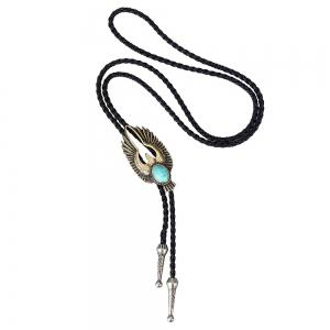 Fashion Accessories Woven Rope Alloy Eagle with Turquoise Necklace -