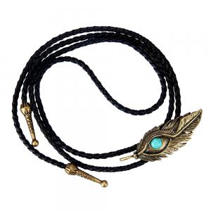 Fashion Accessories Eagle Eye Feather with Turquoise Woven Rope Necklace -