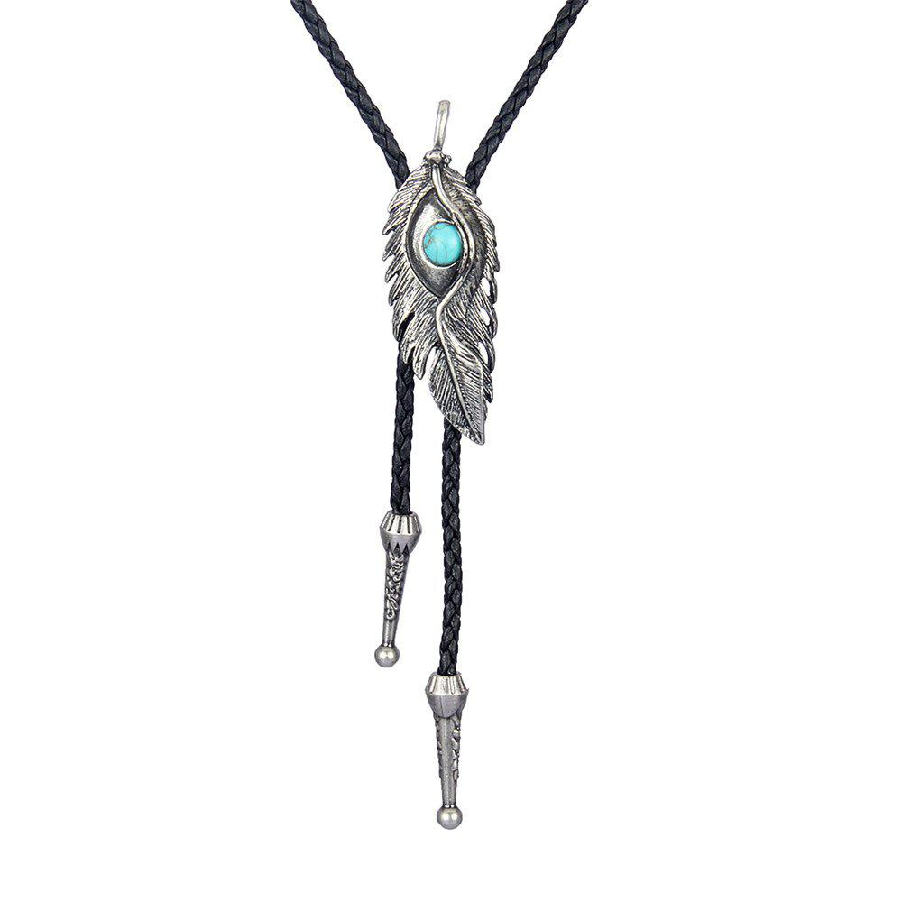 Latest Fashion Accessories Eagle Eye Feather with Turquoise Woven Rope Necklace
