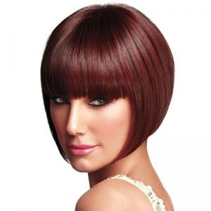 Wine Red Straight Bang Wig -