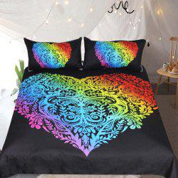 Colorful Bedding  Heart Printed  Duvet Cover Set 3pcs -