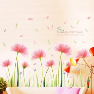 Pink Garden Removable Wall Stickers PVC Transparent Film -
