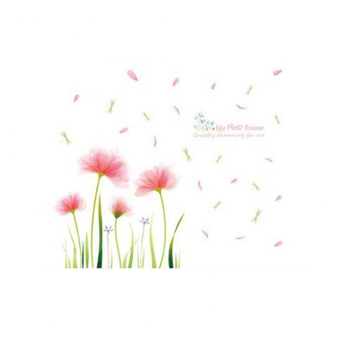 Fancy Pink Garden Removable Wall Stickers PVC Transparent Film