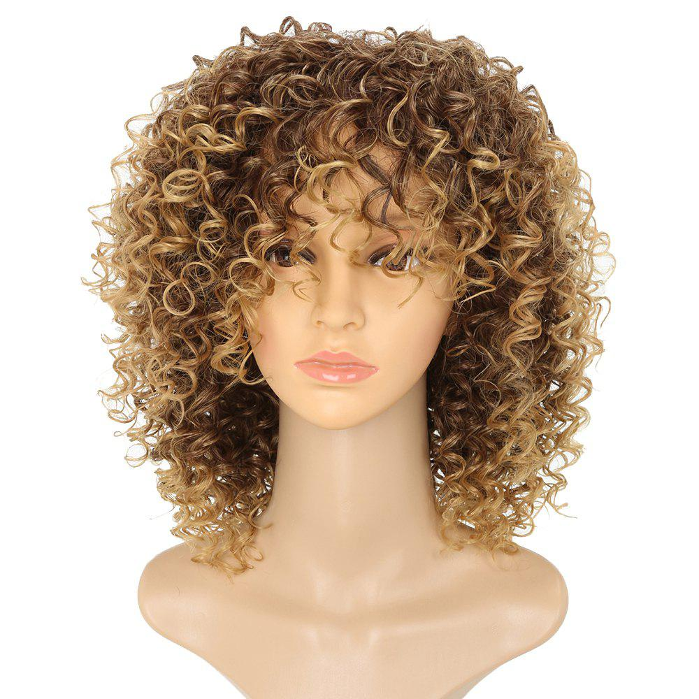 New Short Afro Curly Synthetic Hair with Bang for Afircan American 4 Colors