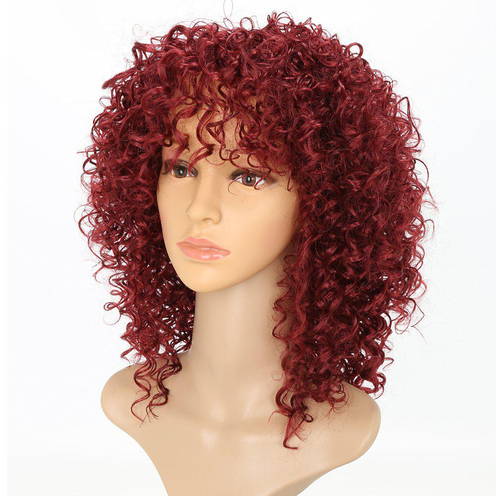 Shops Short Afro Curly Synthetic Hair with Bang for Afircan American 4 Colors