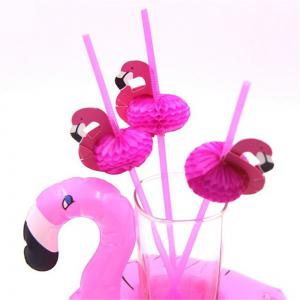 6pcs 3D Flamingo Plastic Drinking Straws  Birthday/Wedding/Party Decoration -