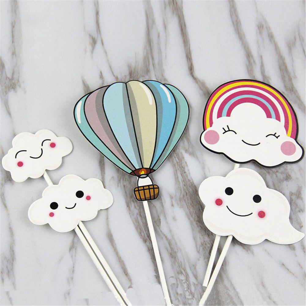 Best Hot-Air Balloon Rainbow Clouds Cake Flags Birthday/Wedding Decoration
