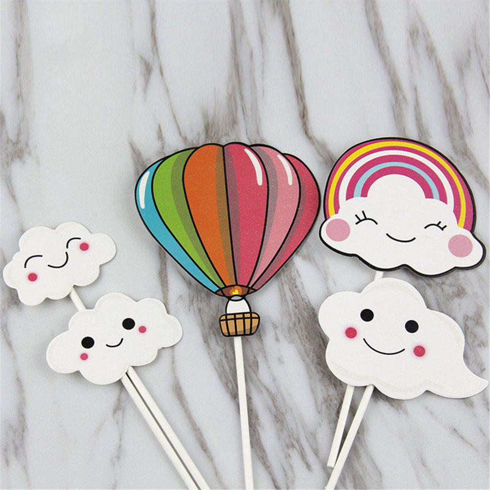 Unique Hot-Air Balloon Rainbow Clouds Cake Flags Birthday/Wedding Decoration