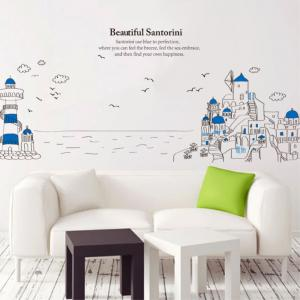 Creative Decorative Cartoon 3D Santorini Lighthouse Wall Stickers -