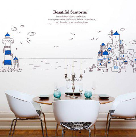 New Creative Decorative Cartoon 3D Santorini Lighthouse Wall Stickers