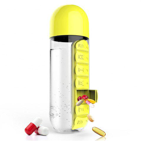 New 600ml Sport Water Bottle With Built-in Daily 7 Daily Pill Box Vitamin Organizer