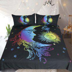 Colorful Bedding Moon Accompanies Sun  Duvet Cover Set 3pcs -