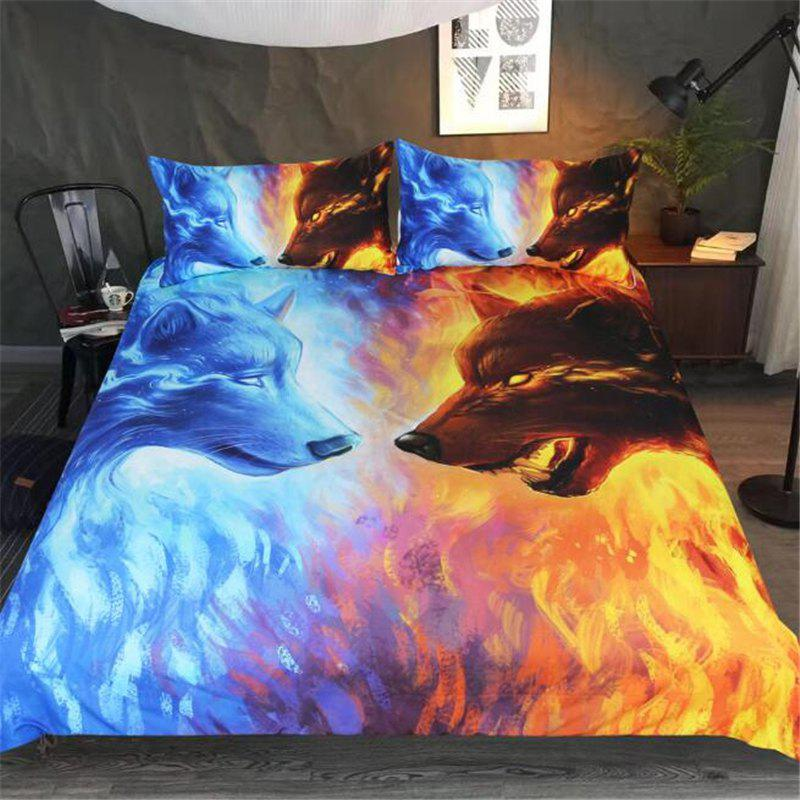 Chic 3D Ice Wolf Blue Yellow Bedding Three-Piece Bedding Set