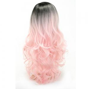 Pink Color Party Wigs Black Roots Long Loose Curly Heat Resistant Synthetic Hair -
