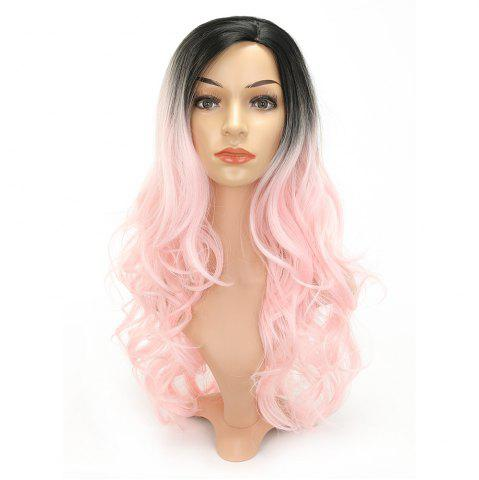 Cheap Pink Color Party Wigs Black Roots Long Loose Curly Heat Resistant Synthetic Hair