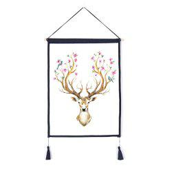 Decorative Antler Flower Background Wall Hanging Cotton Fabric Print Painting -