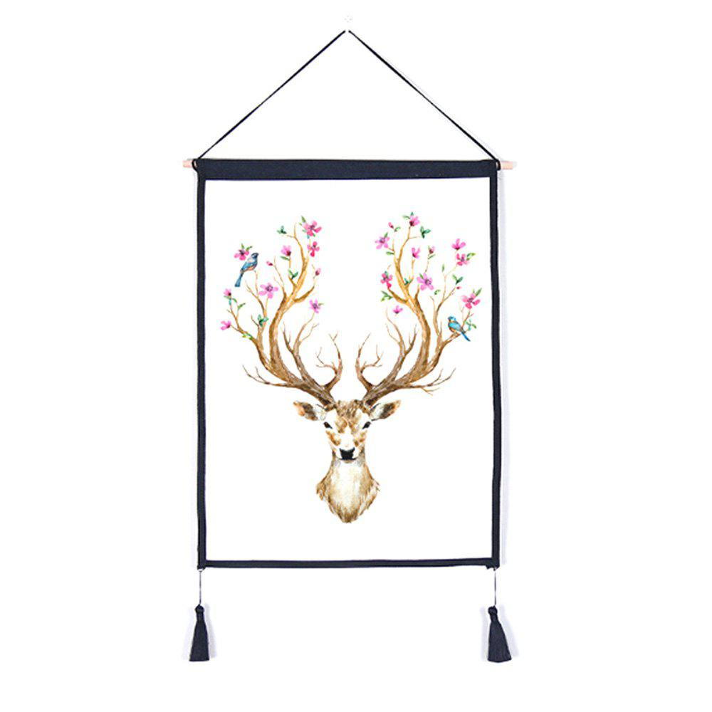 Cheap Decorative Antler Flower Background Wall Hanging Cotton Fabric Print Painting