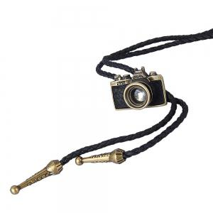 Fashion Accessories with Leather Trim and A Camera Pendant Necklace -