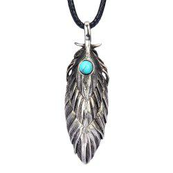 Fashion Accessories Personality Ancient Feather Turquoise Necklace -