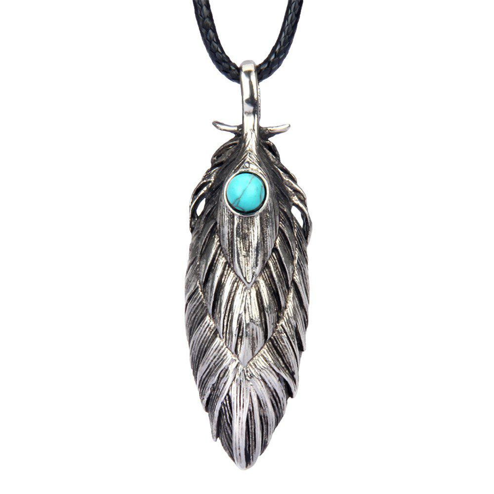 Store Fashion Accessories Personality Ancient Feather Turquoise Necklace