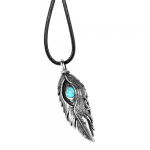 Fashion Accessories Ancient Silver Eagle Eye Feather with Turquoise Necklace -