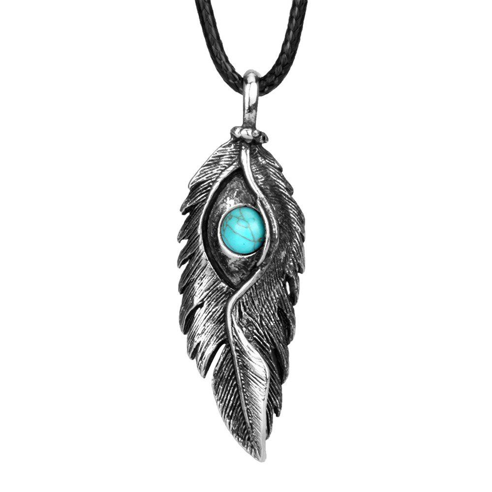 New Fashion Accessories Ancient Silver Eagle Eye Feather with Turquoise Necklace