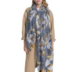 Lightweight Shawl Scarf Floral Print Cotton and Linen Beach Wraps for Women -