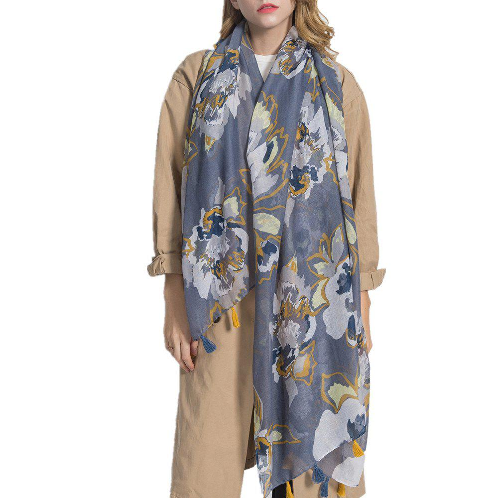 Buy Lightweight Shawl Scarf Floral Print Cotton and Linen Beach Wraps for Women