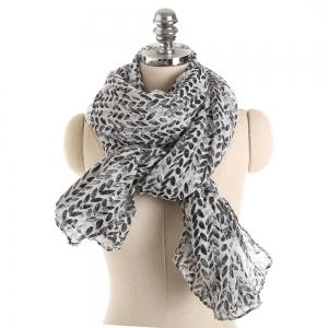 Shiny Leaves Warm Cotton and Linen Scarf -