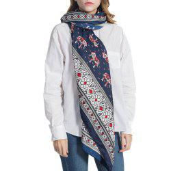 Elephant Pattern Gathering Multi Function Cotton and Hemp Fringed Scarf -
