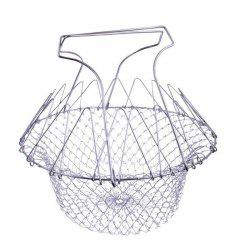 Foldable Steam Rinse Strainer Stainless Steel Colander Magic Mesh -