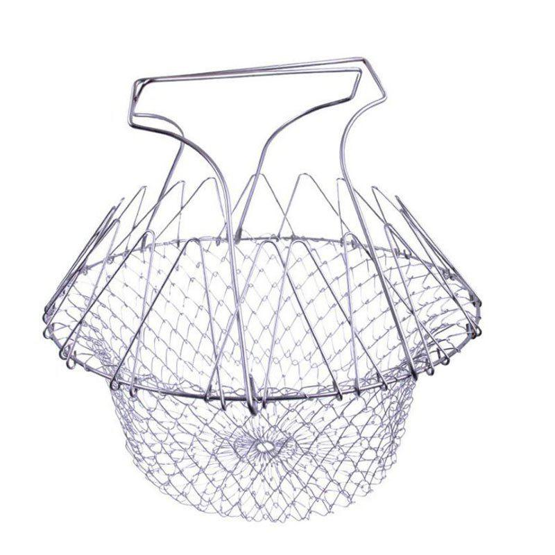 Chic Foldable Steam Rinse Strainer Stainless Steel Colander Magic Mesh
