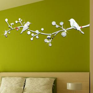 3D Bird  Mirrort Wall Stickers Fashion Design Art Decals -