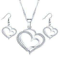 Jewelry Set Double Heart Earring Necklace -