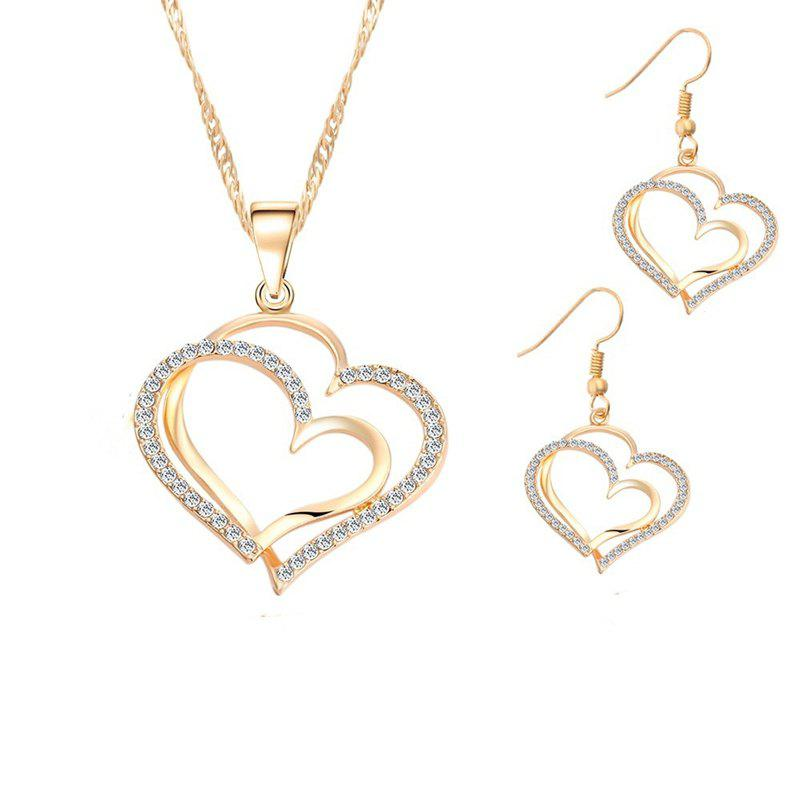 Outfit Jewelry Set Double Heart Earring Necklace