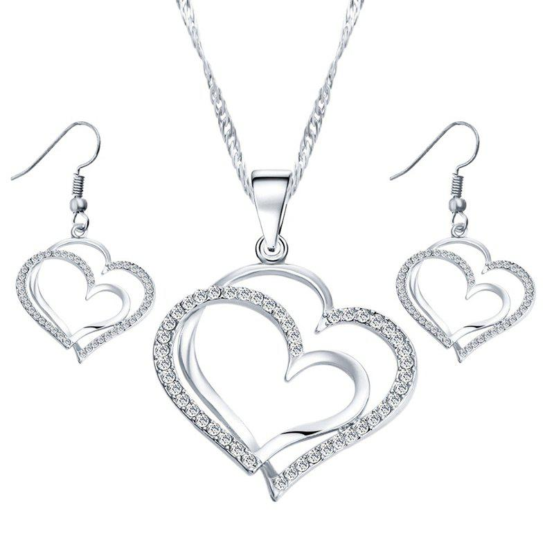 Shops Jewelry Set Double Heart Earring Necklace