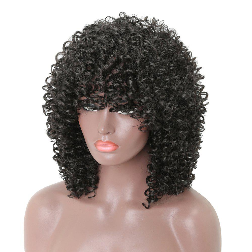 Chic Afro Long Curly Black Fashion Synthetic Heat Resistant Full Wigs with Bang