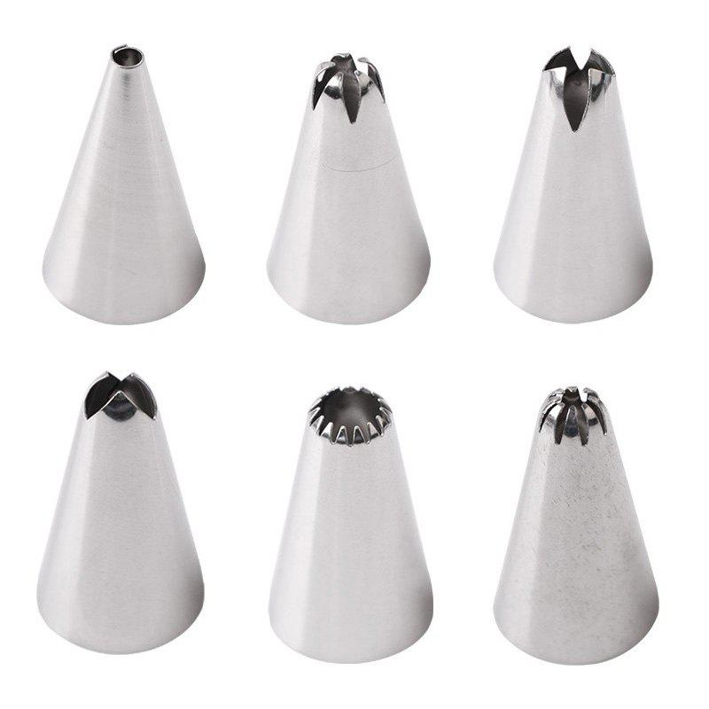 Best Silicone Icing Piping Cream Pastry Bag with 6pcs Stainless Steel Nozzle Sets