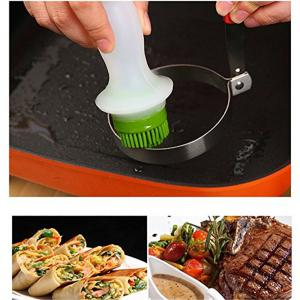 Silicone Brush Glass Bottle Store Oil Dressings for BBQ Cooking Baking -