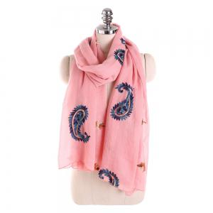 Long and Comfortable Scarf in Cashew Flowers and Linen -