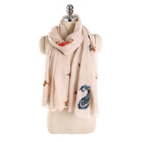 Online Long and Comfortable Scarf in Cashew Flowers and Linen