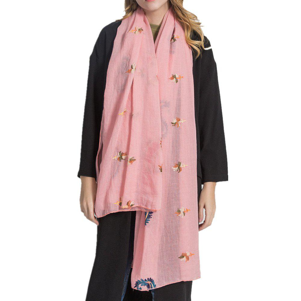 Outfit Long and Comfortable Scarf in Cashew Flowers and Linen