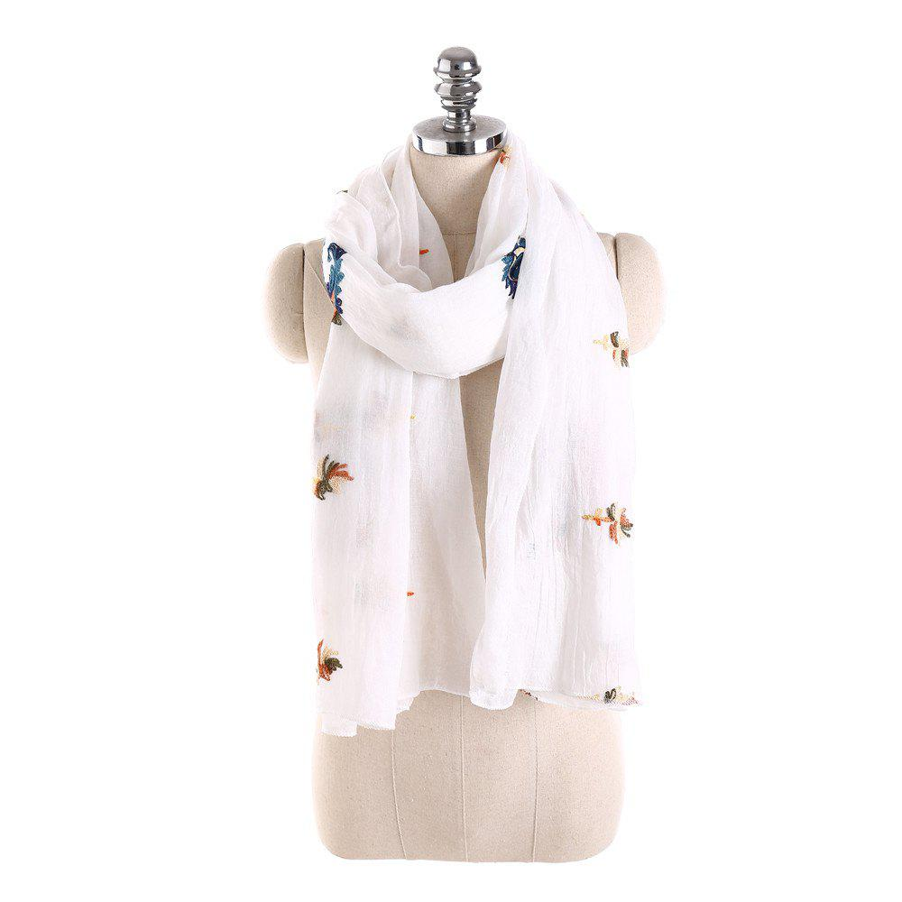 Trendy Long and Comfortable Scarf in Cashew Flowers and Linen