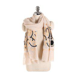 Willow Branch Cashew Flower Warm Cotton Linen Scarf -