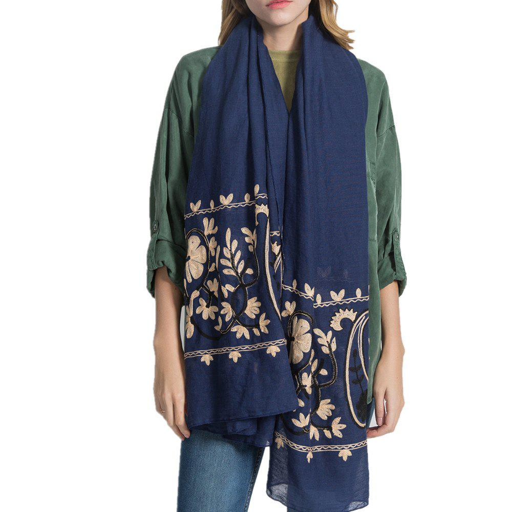 New Willow Branch Cashew Flower Warm Cotton Linen Scarf