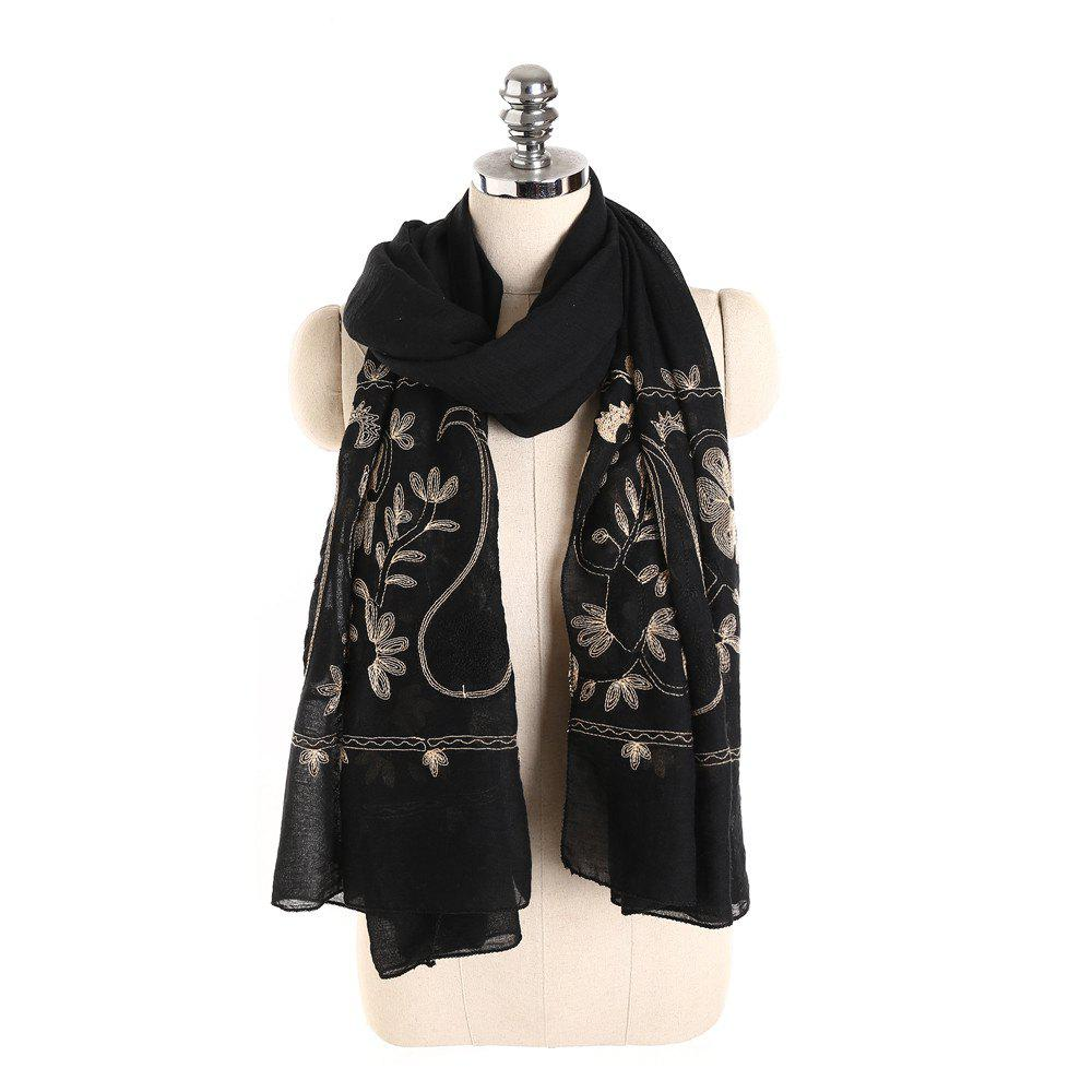 Outfit Willow Branch Cashew Flower Warm Cotton Linen Scarf