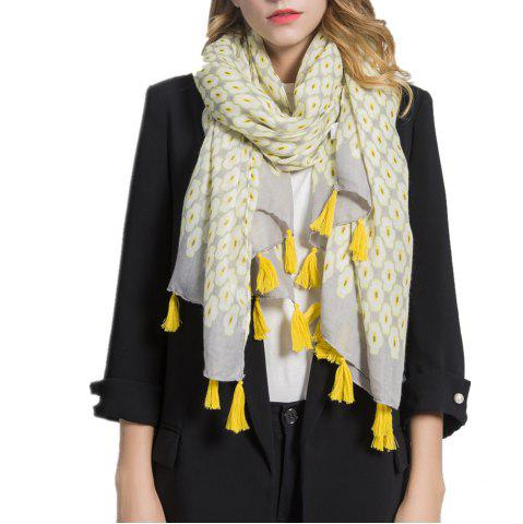 Outfit Geometric Figure Personalized Warm Cotton and Hemp Tassel Scarf
